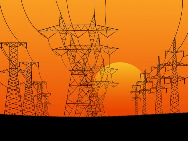 Abstract horizontal illustration of electric transmission line t