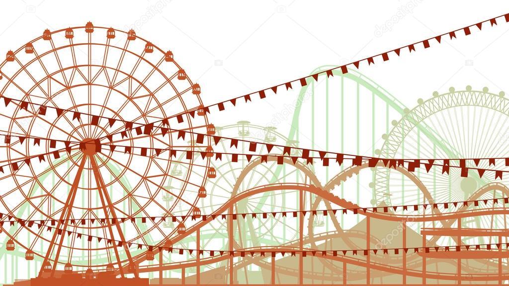 Ilustración horizontal de montaña rusa y rueda de la fortuna ...
