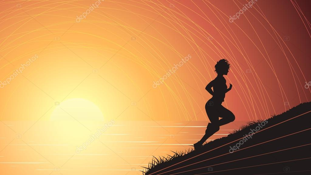 Vector horizontal illustration of runner above the sunset sea.