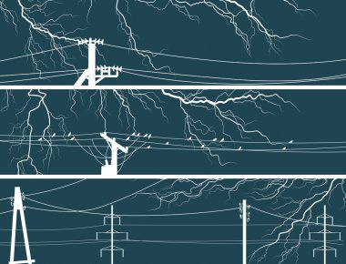 Horizontal vector banners of lightning at night.