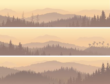 Set horizontal banners of wild coniferous forest in morning fog. clip art vector