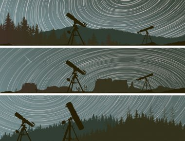 Horizontal banners of stars trace circles on the sky over the fo