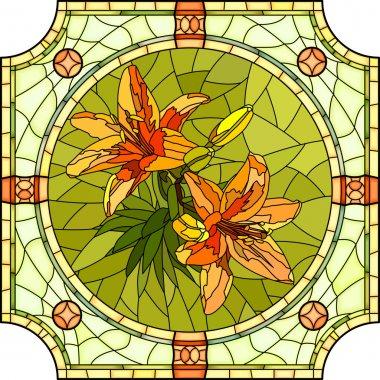 Vector illustration of flower orange lilies.
