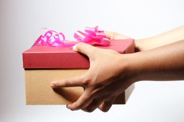 Valentine box with ribbon on it, give to someone, white back ground