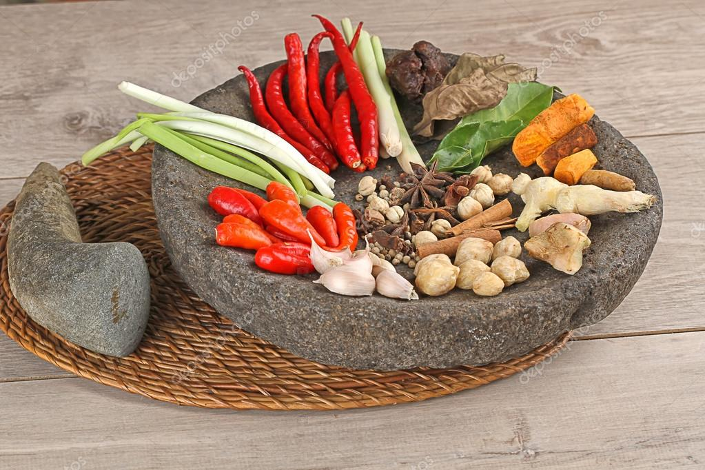 Spices on mortar