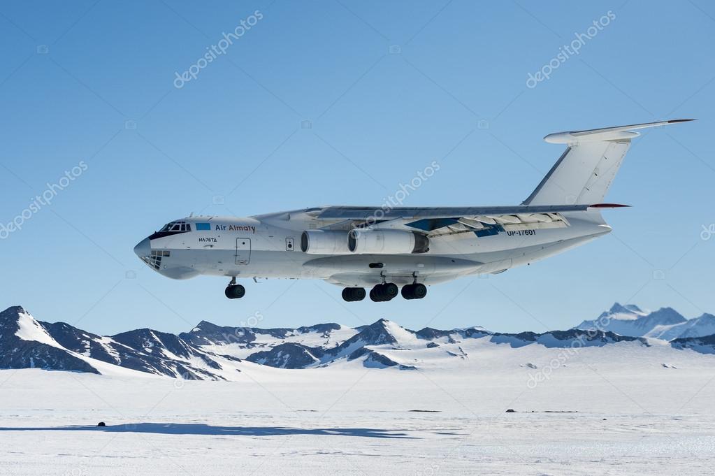 Airplane IL - 76 landing in Antarctica