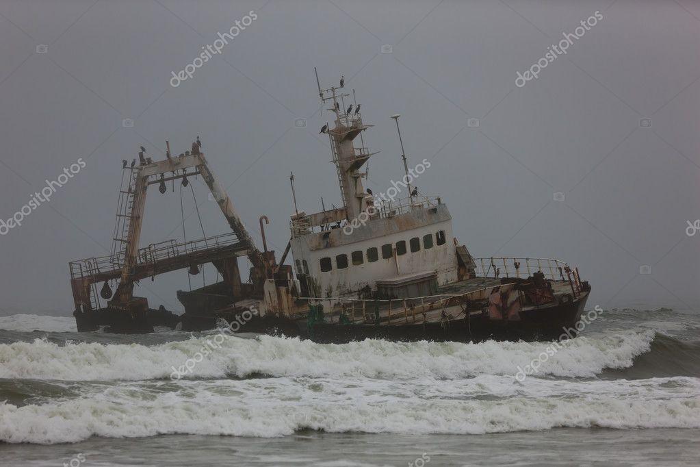 Ship sailing at sea, Namibia