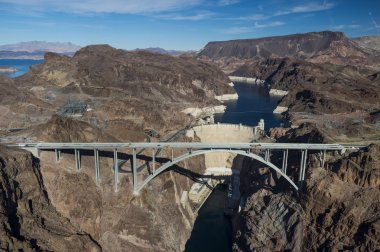 Aerial view of Hoover Dam and the Colorado River Bridge