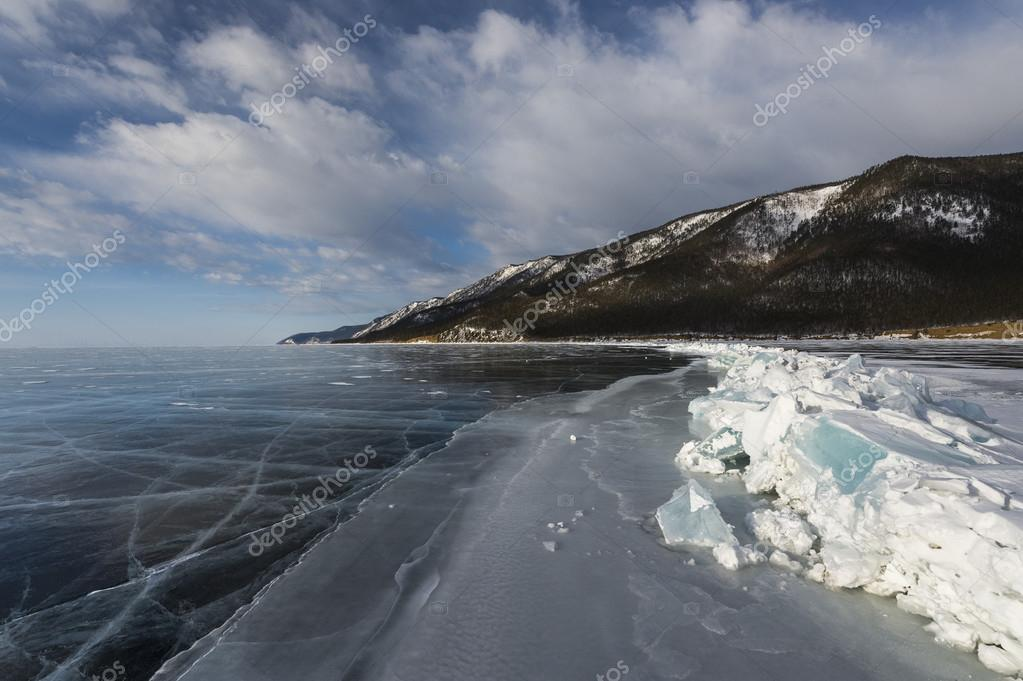 Endless ice vastness of winter Baikal lake