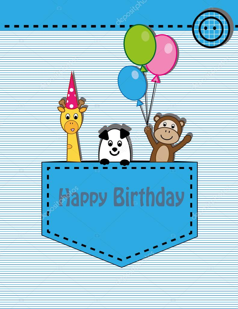 Cute happy birthday card with giraffe monkey and panda – Cool Happy Birthday Card