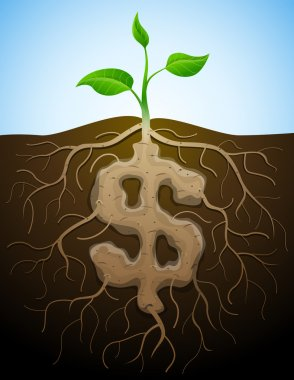 Dollar sign is shown as root of plant
