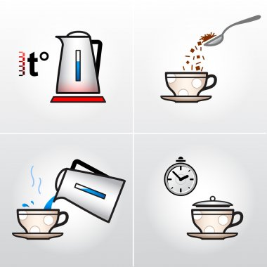 Icon set for process of brewing tea, coffee, etc.