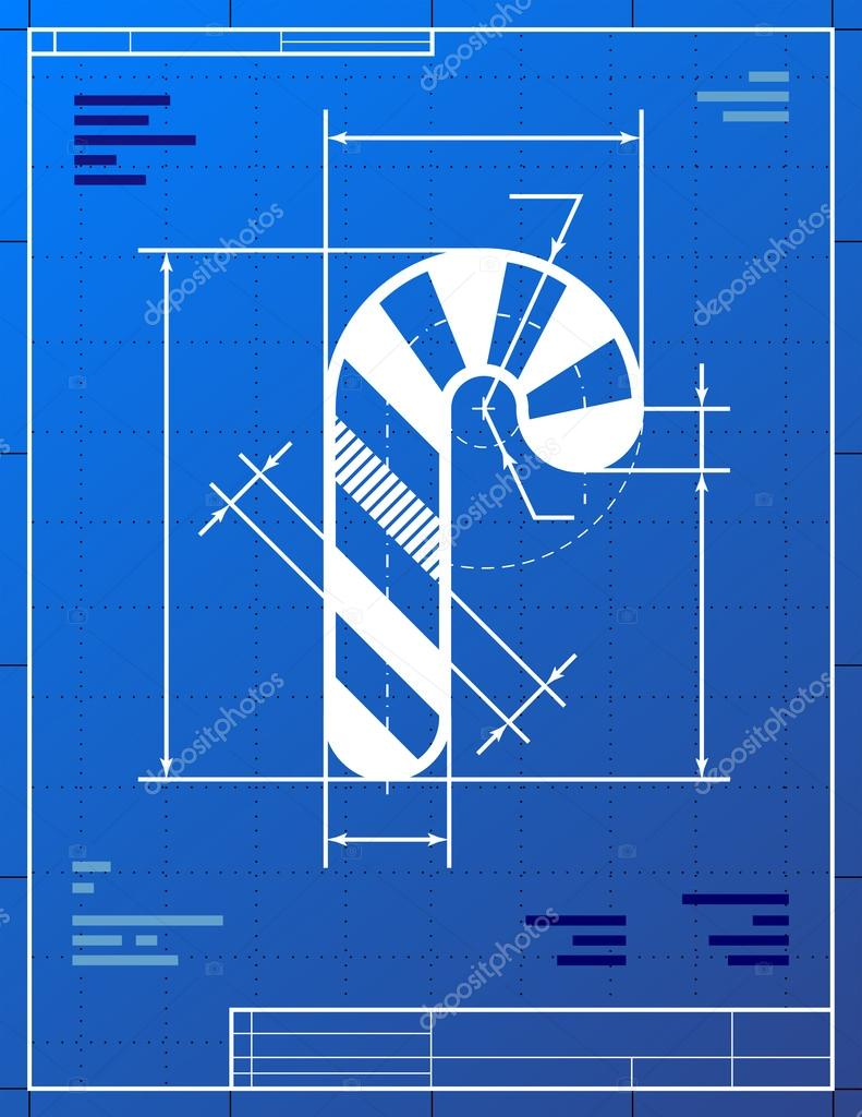 Christmas candy cane symbol like blueprint drawing stock vector qualitative vector eps 10 illustration for new years day christmas decoration winter holiday design new years eve silvester etc malvernweather Image collections