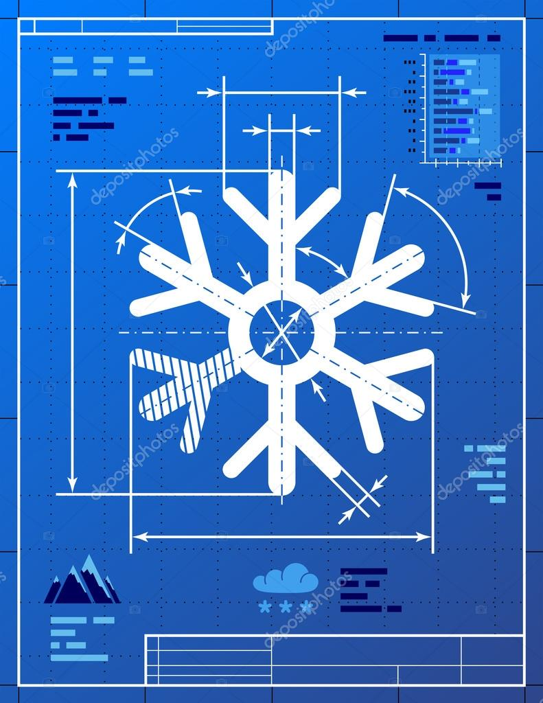 Snowflake symbol like blueprint drawing stock vector kulyk qualitative vector eps 10 illustration for new years day christmas weather winter holiday new years eve winter recreation etc malvernweather Image collections