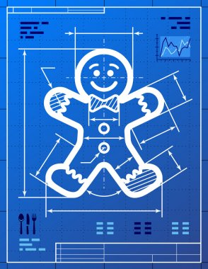 Gingerbread man symbol like blueprint drawing