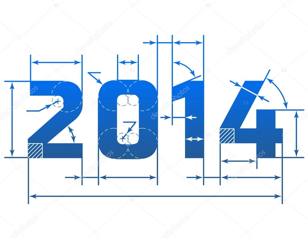 New Year 2014 number with dimension lines