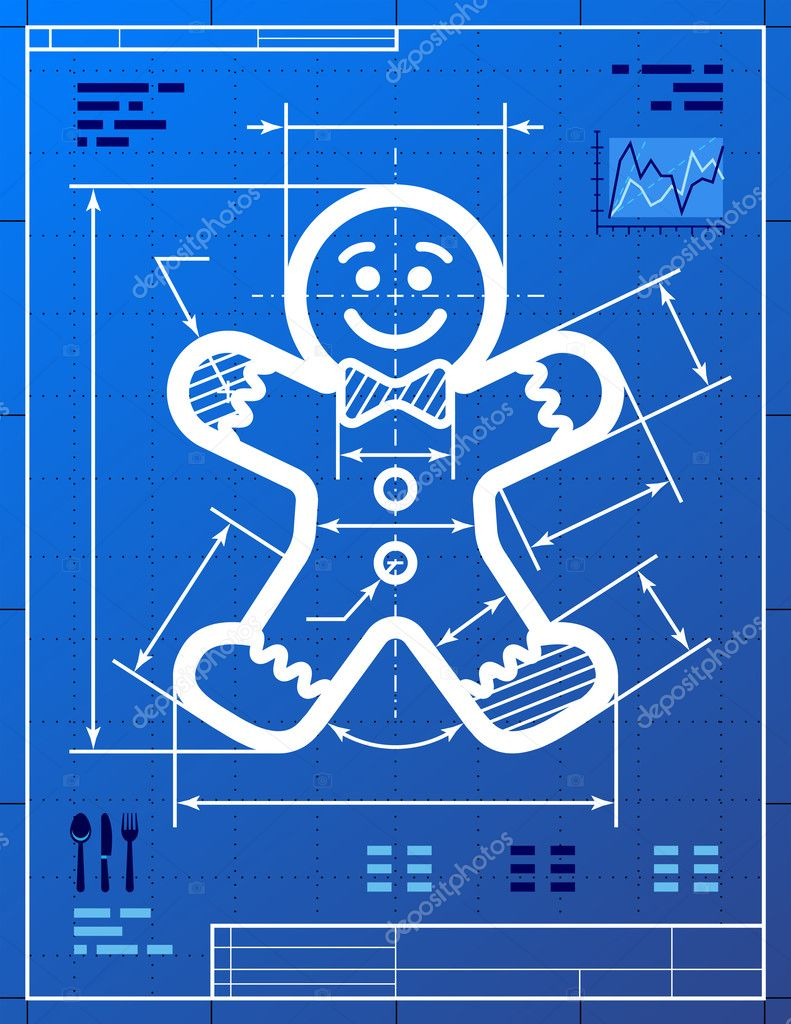 Gingerbread man symbol like blueprint drawing stock vector qualitative vector eps 10 illustration for new years day christmas decoration winter holiday design new years eve silvester etc malvernweather Image collections