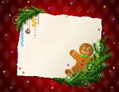 Paper for christmas list with gingerbread man