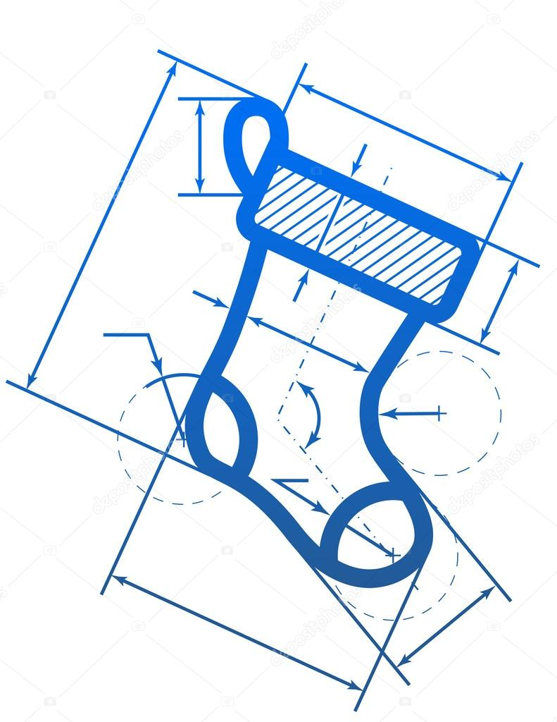 Christmas stocking symbol with dimension lines