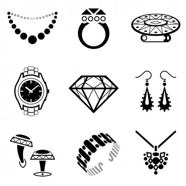 Collection of black-white icons for luxury industry. Qualitative vector (EPS-10) symbols about jewellery, accessories, fashion, luxury, precious metal wares, etc. It has only solid color stock vector
