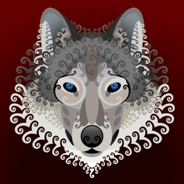 Wolf's face with swirls