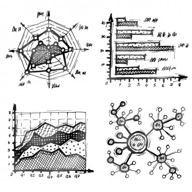 Hand drawn different types of infographics