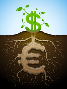 Growing dollar sign like plant with leaves and euro sign like ro