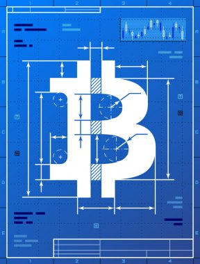 Bitcoin sign like blueprint drawing