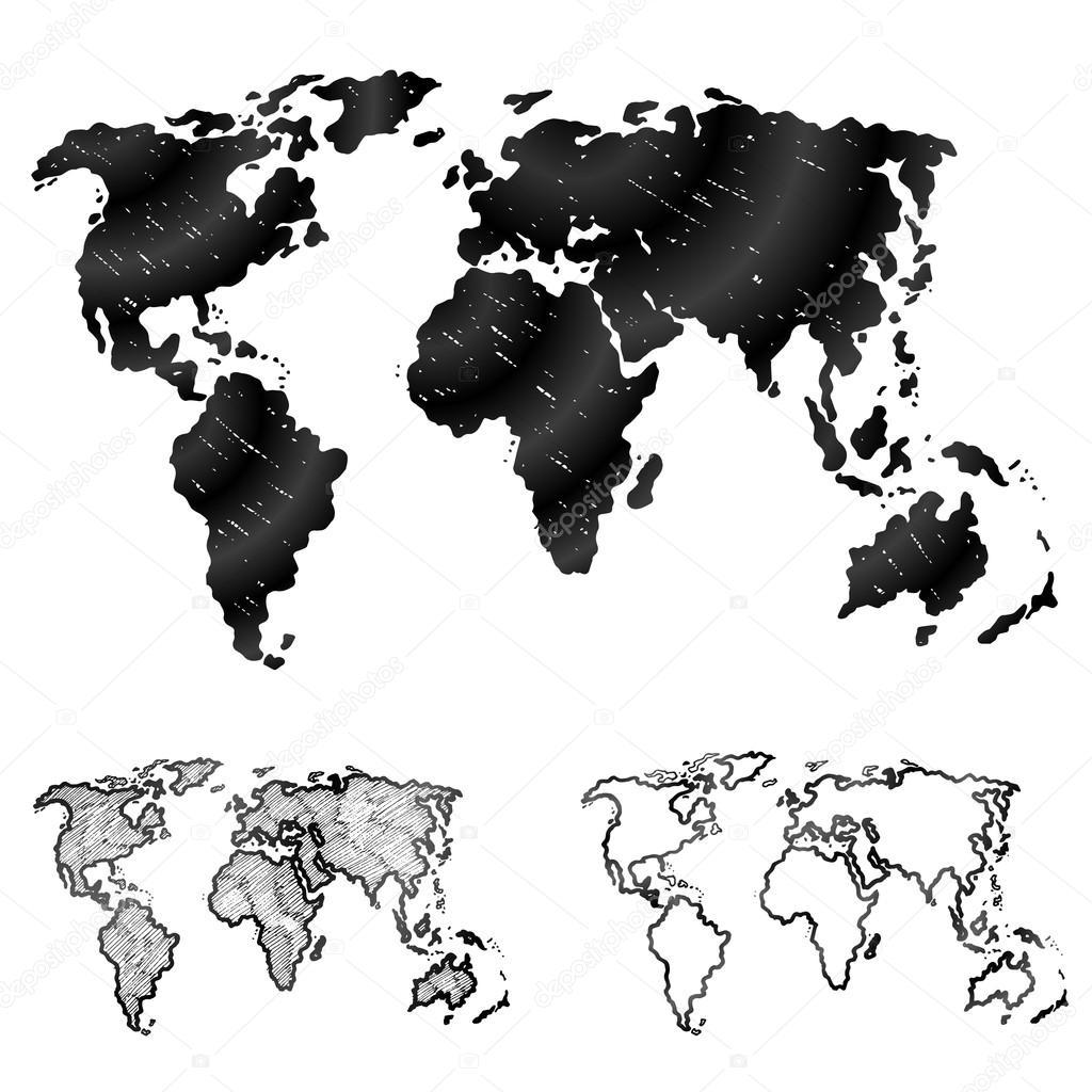 Hand drawn world map in three versions — Stock Vector © kulyk #48208641