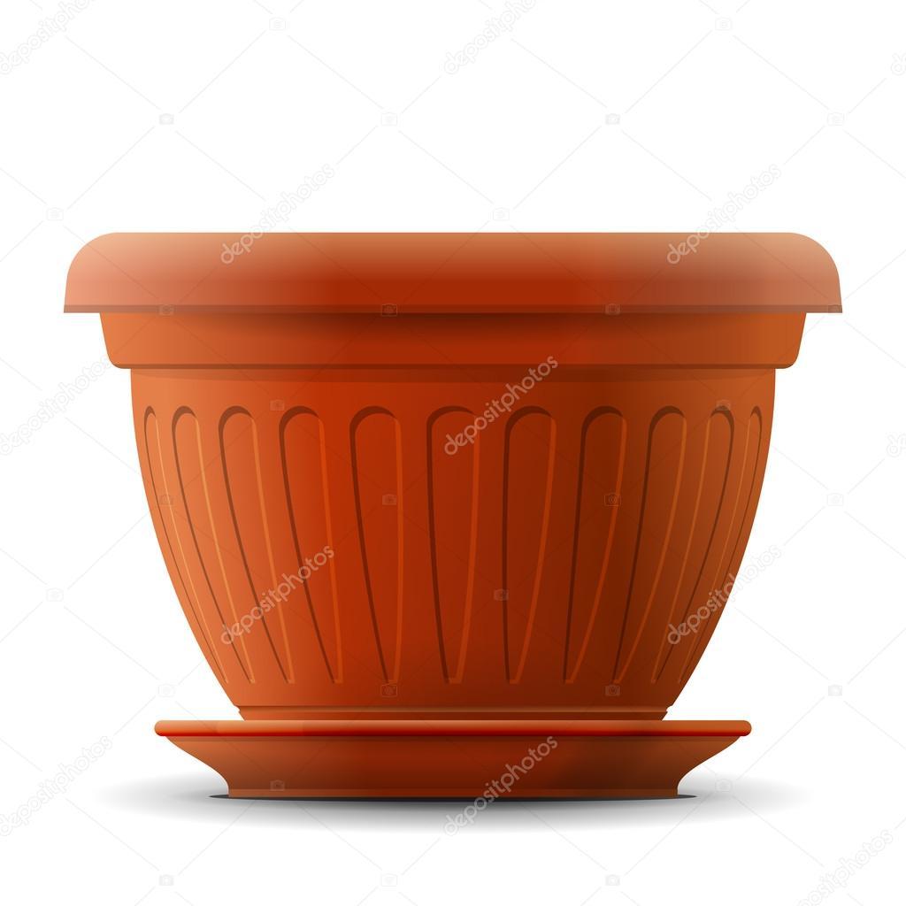 Pot De Fleur Vide Avec Soucoupe Image Vectorielle Kulyk C 48545719