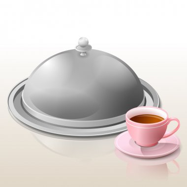 Metal cloche for meal and cup of tea