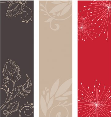 Floral patterns on a beige, brown and red background clip art vector