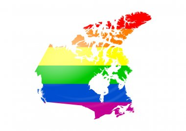 Gay flag Canada map