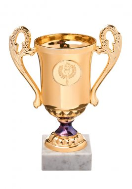 Gold trophy on white marble stand