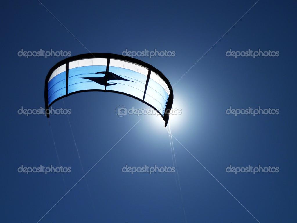 Kite on the sunny blue sky