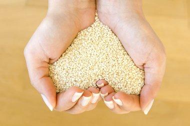 Heart shape from sesame seeds