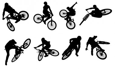 Action bike silhouettes