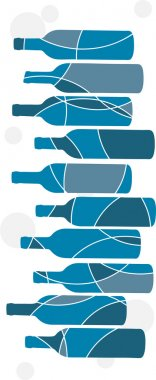 Abstract blue wine bottle background