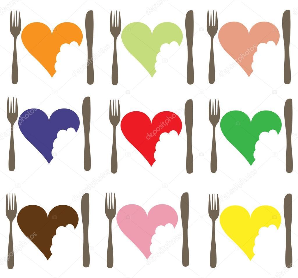 Un Conjunto De Iconos Diferentes Colores Que Representan El Amor