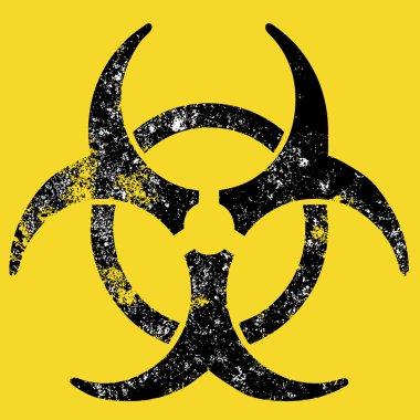 Grunge style biohazard sign, raster version. stock vector