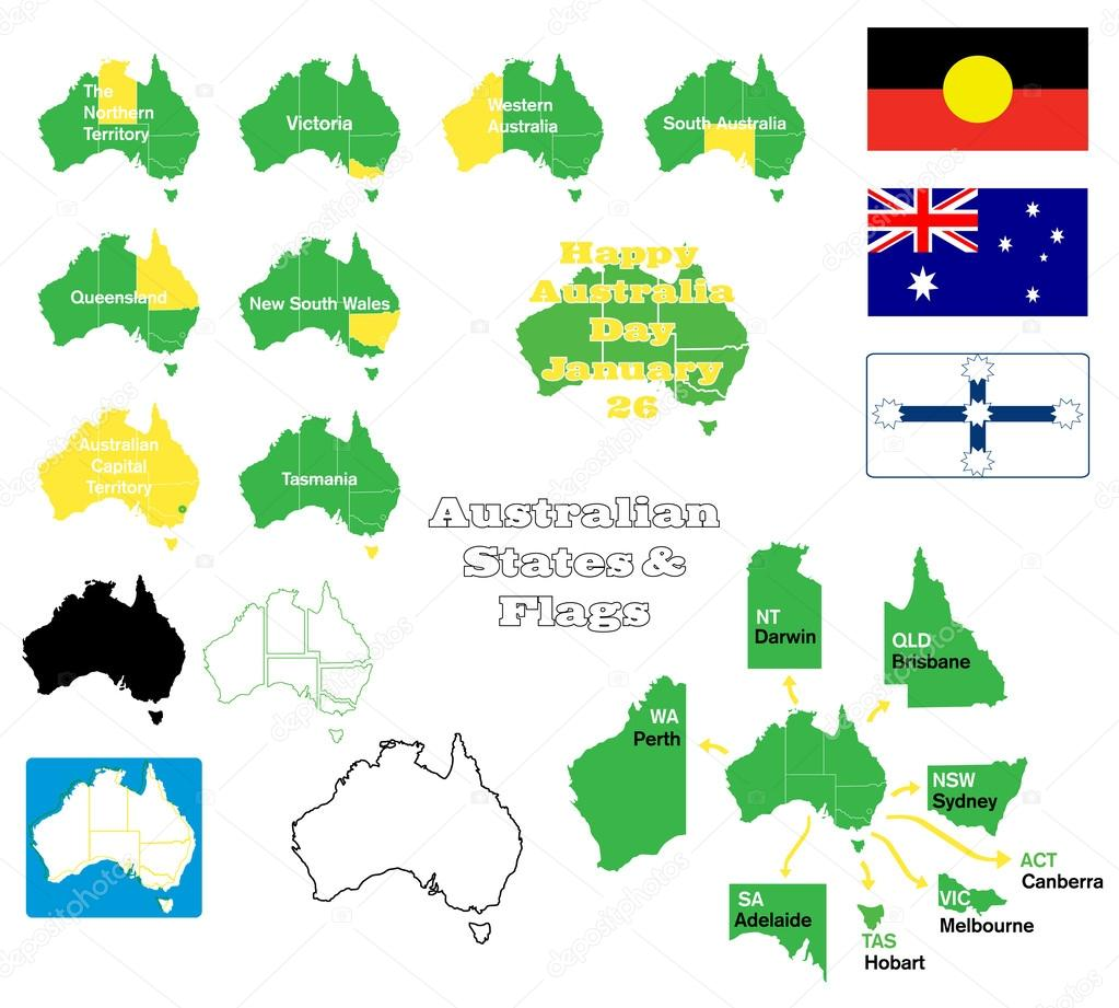 Map Of States Of Australia.Flags Maps And States Of Australia Stock Vector C Ashleynomad