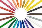 24barevná pastelka v kruhu s ořezovou cestou