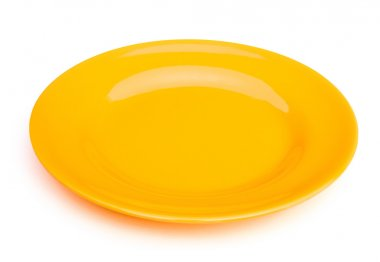 yellow empty plate on white with clipping path