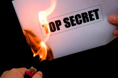 Burning a top secret paper document