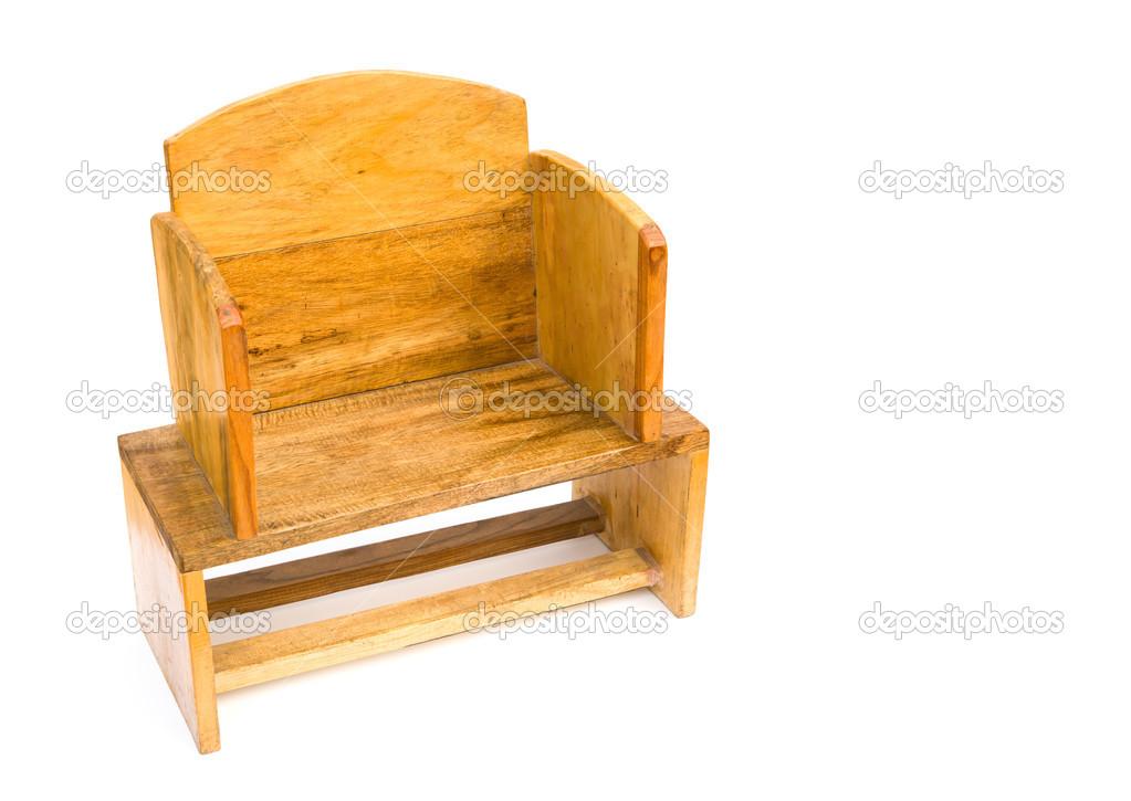Houten stoel voor kinderen op wit met kopie ruimte u stockfoto