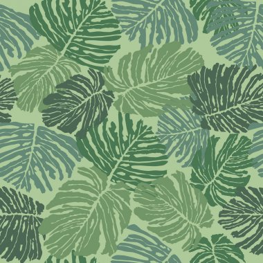 Abstract floral tropical seamless background with fern.