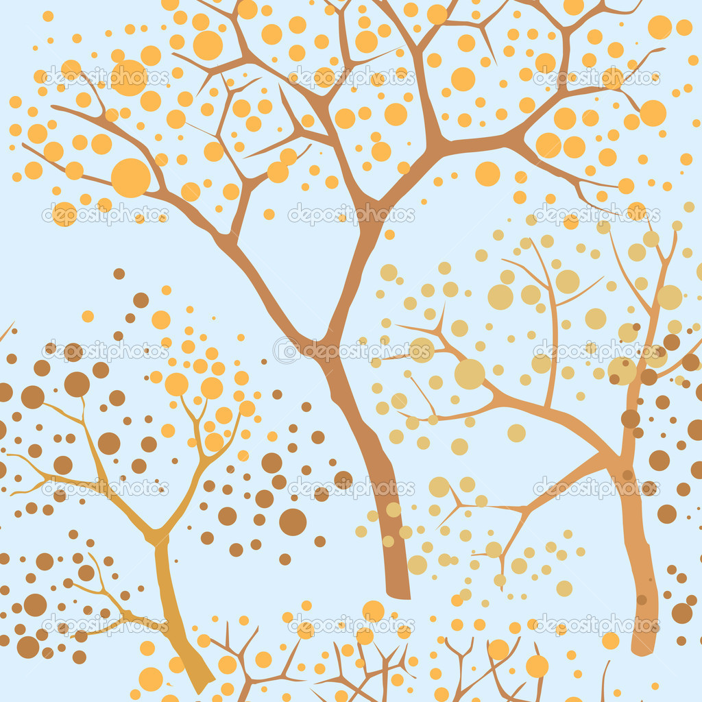 Autumn park trees seamless pattern in chinese style