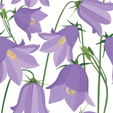 Seamless pattern background with lilac flowers bluebell stock vector