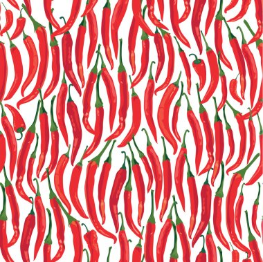 Seamless pattern with hot Chile pepper on white background