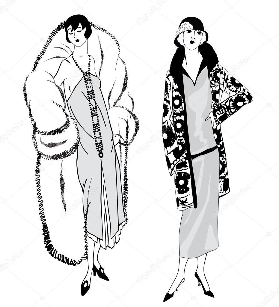 flapper girls 20er jahre stil retro mode party. Black Bedroom Furniture Sets. Home Design Ideas